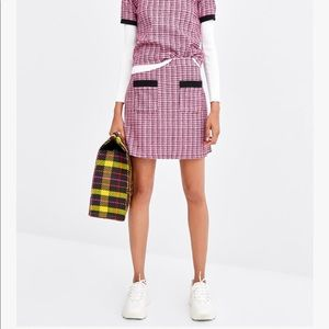 Zara pink & black stretchy tweed plaid mini skirt